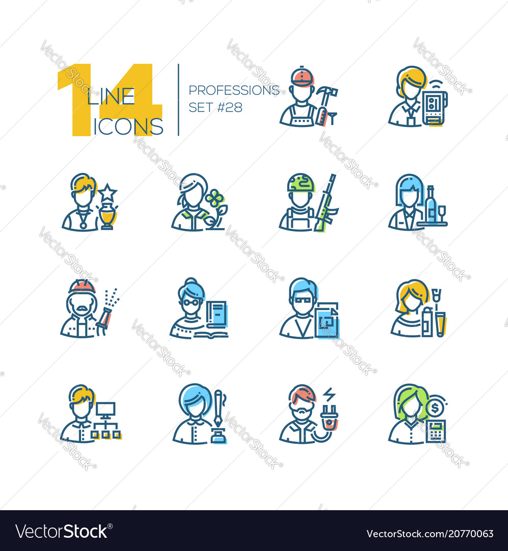 Professions - set of line design style icons vector image