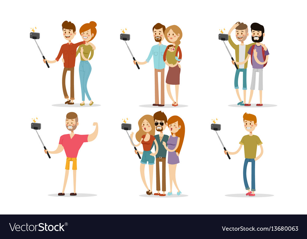 Selfie people isolated