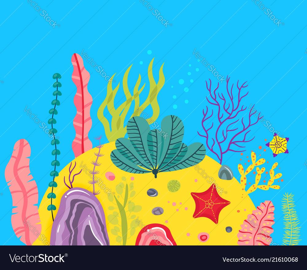 Background with ocean bottom corals reefs