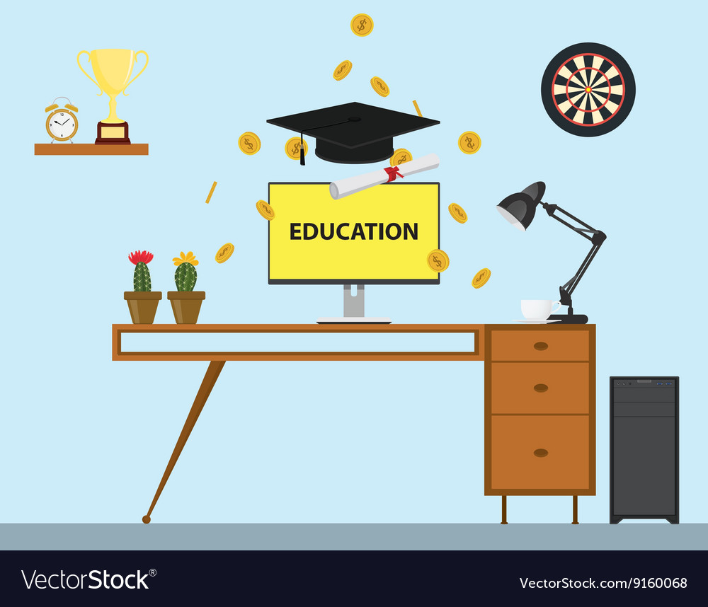 Education with cap and paper trophy gold coind and