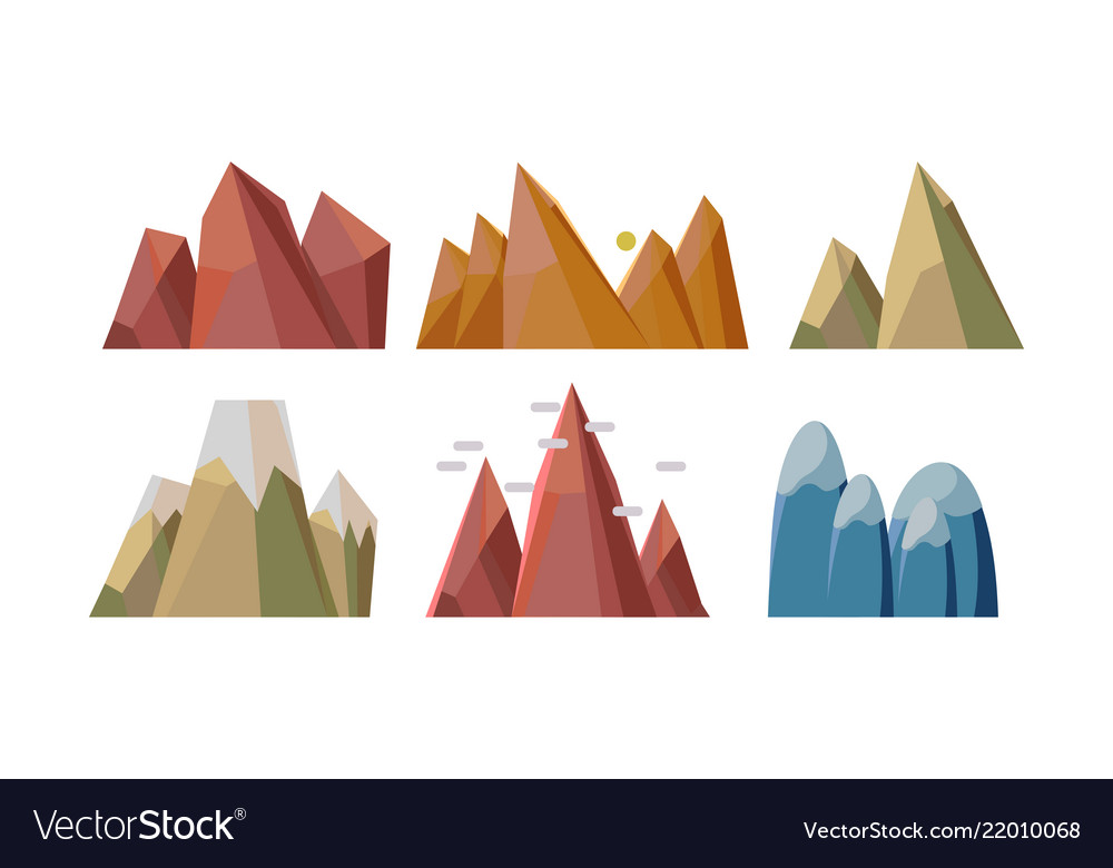 Flat set of different rocky mountains