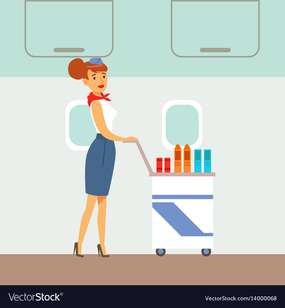 Flight attendant serving drinks on a plane part