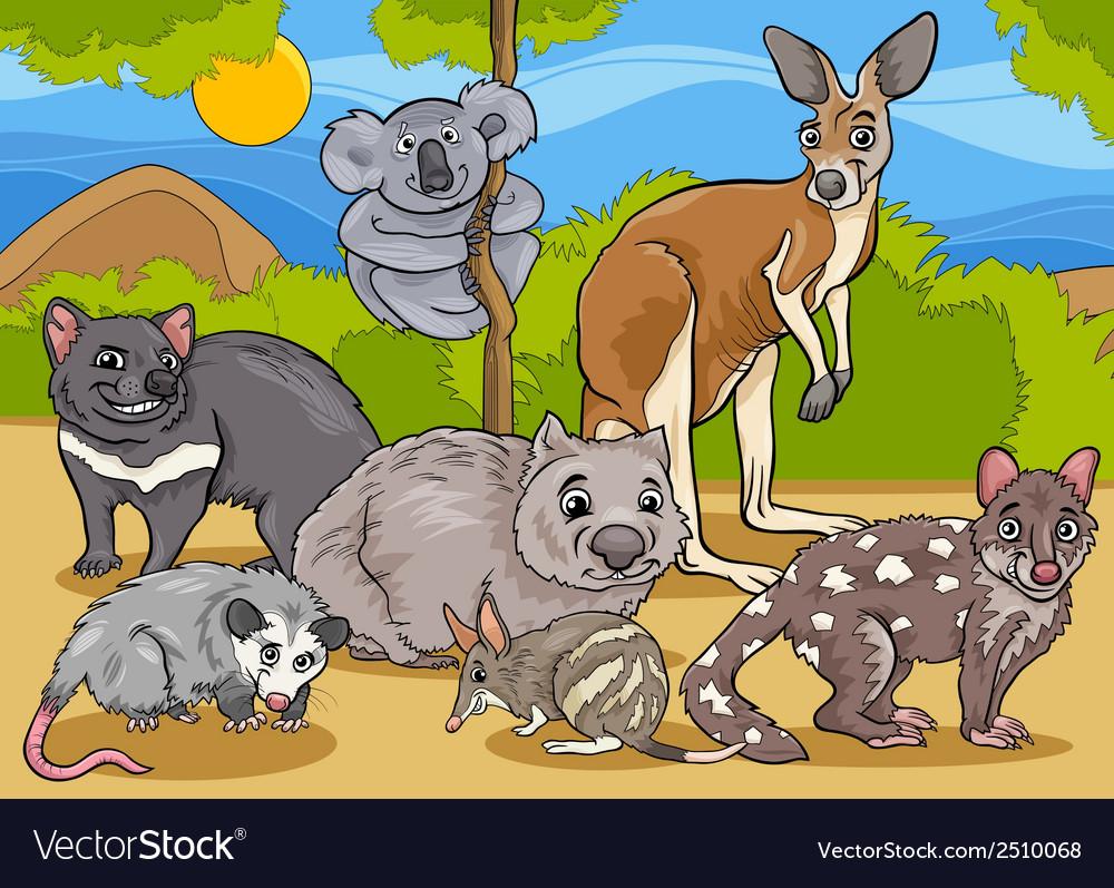 Marsupials animals cartoon