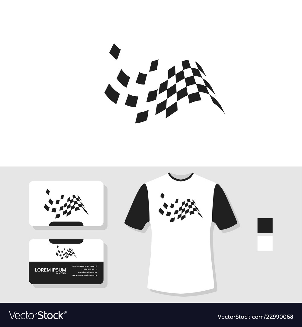 Racing flag logo design with business card and t