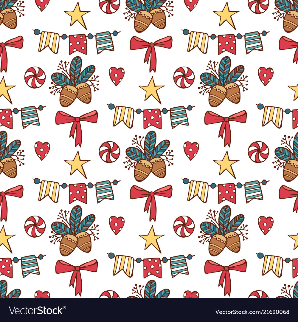Seamless christmas pattern with santa clause deer