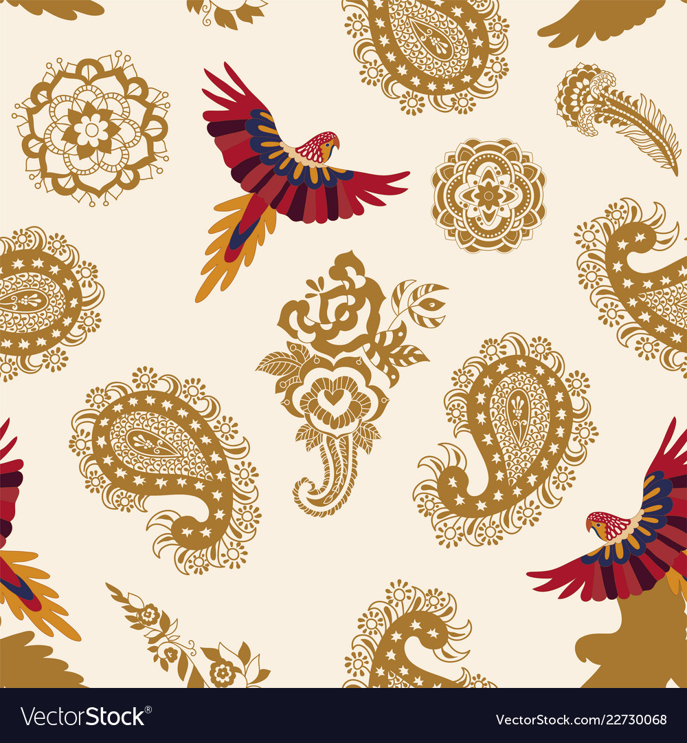 Seamless pattern with paisley and birds