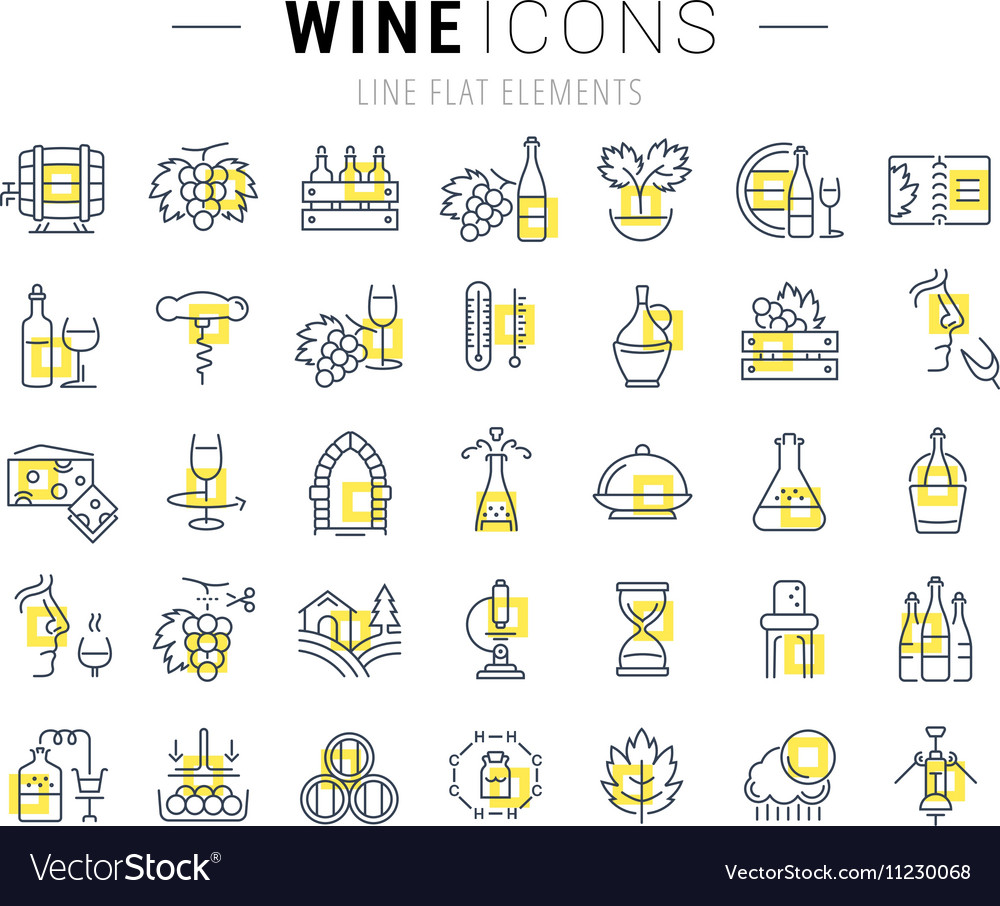 Set Flat Line Icons Wine