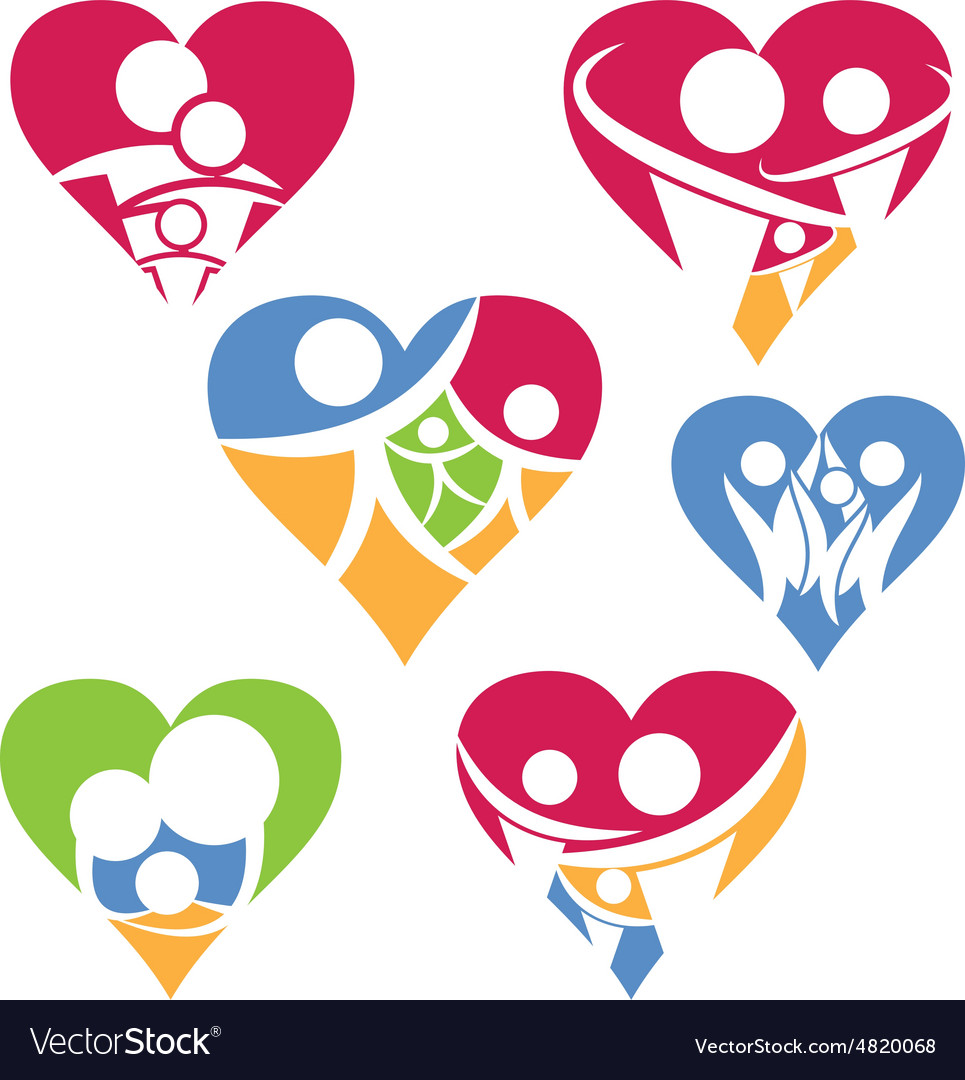 Set of happy family icon in heart