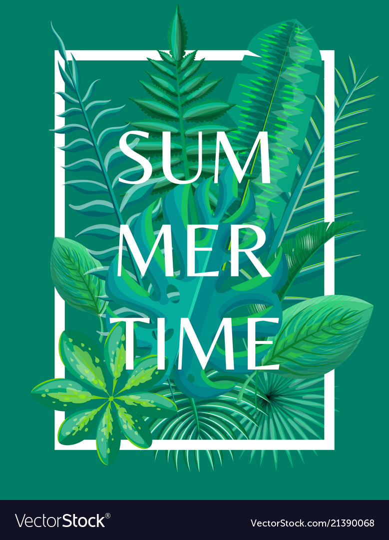 Summertime Background Tropical Green Plants
