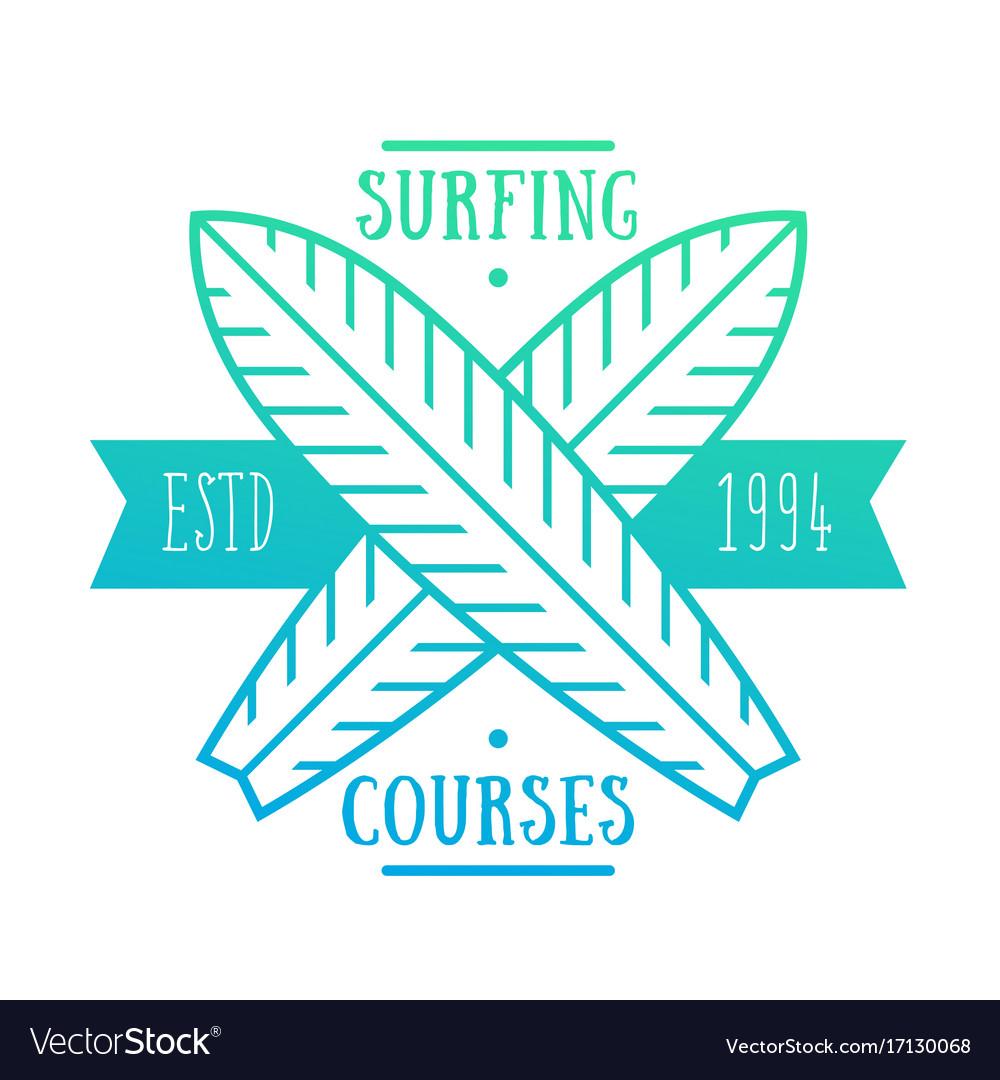 Surfing courses emblem badge logo