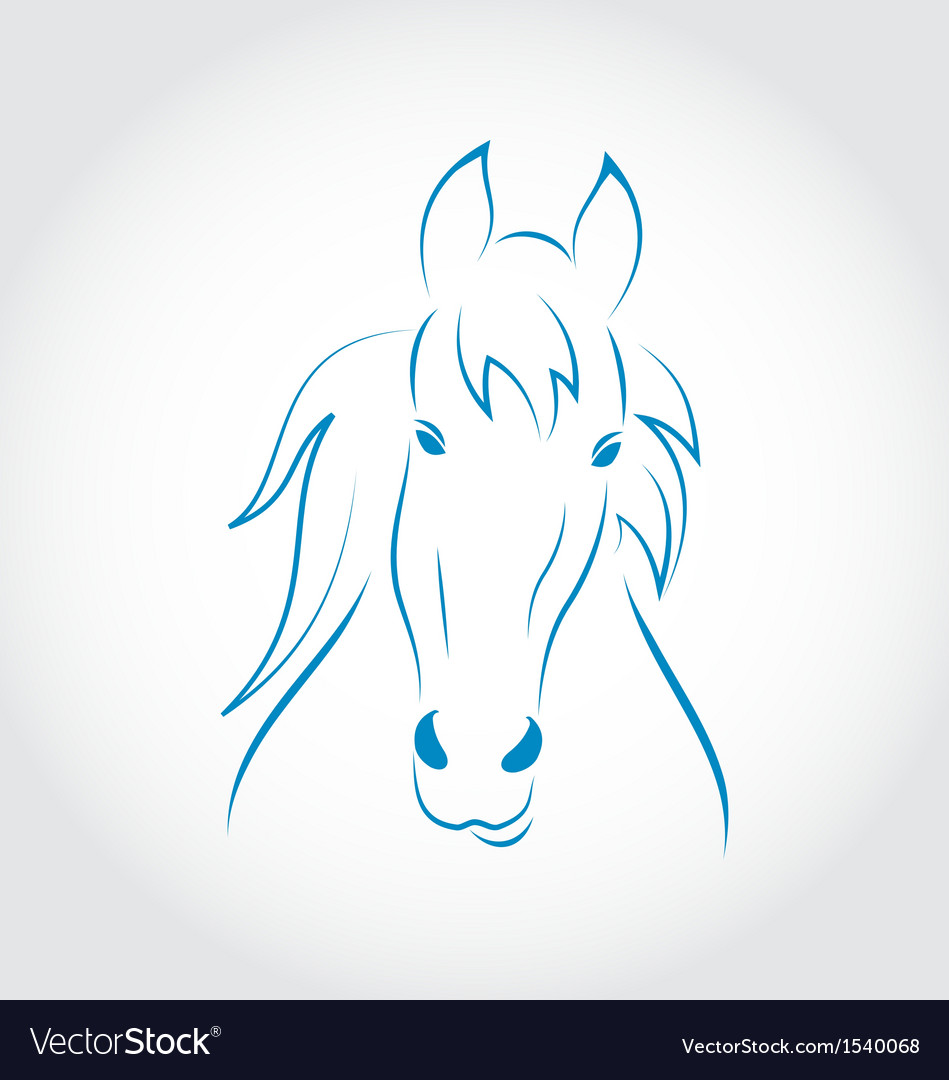 Symbol outline head horse vector image