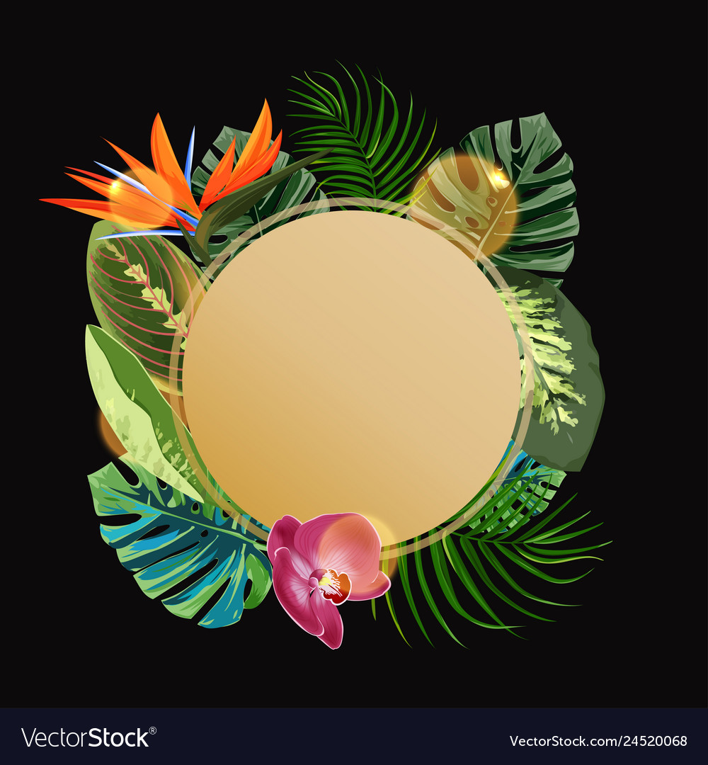 Tropical plants cicle design template bird of