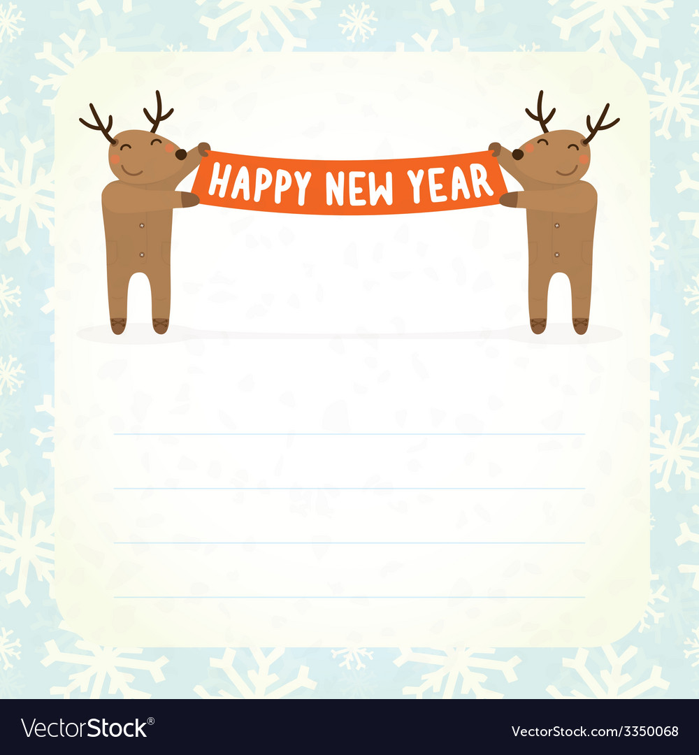 Two cartoon deers holding Happy new year banner