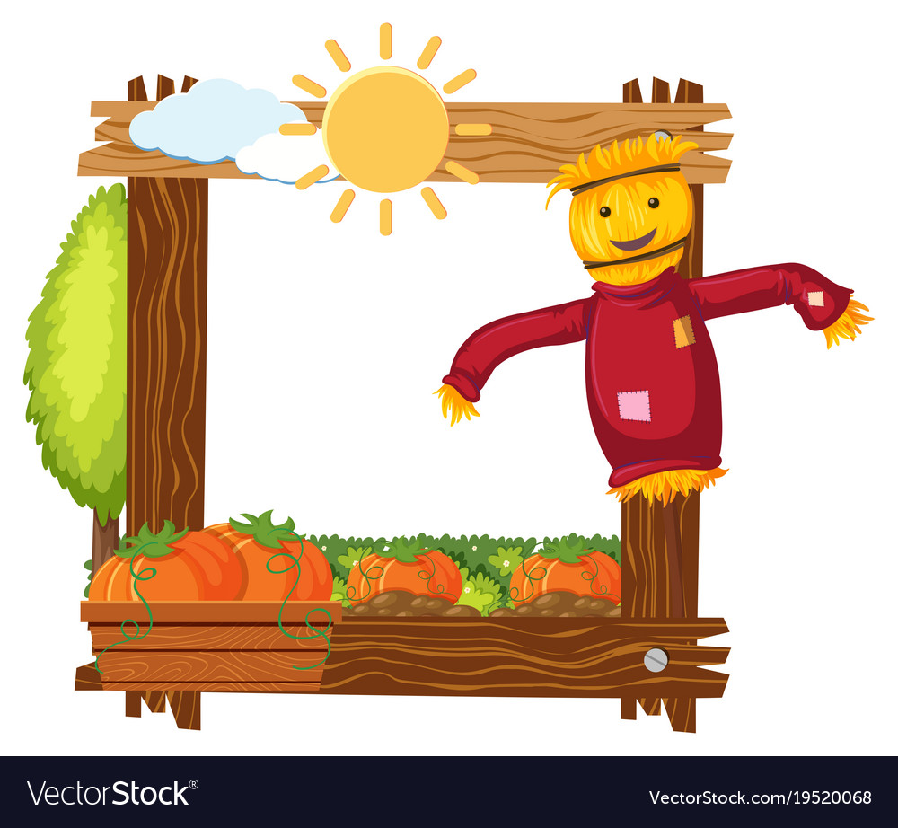 Wooden frame template with scarecrow and pumpkins Vector Image