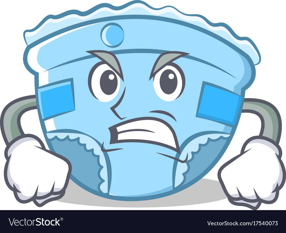 Angry baby diaper character cartoon