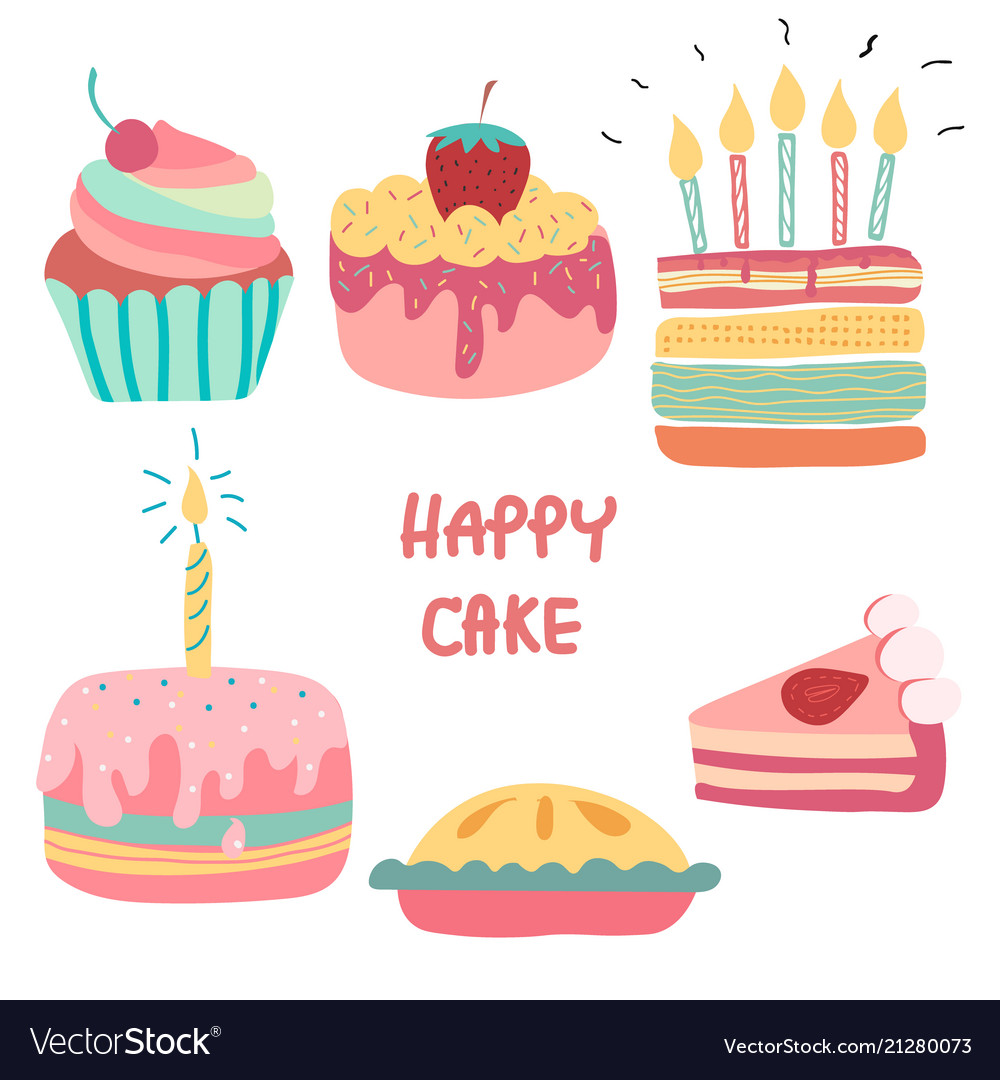 Outstanding Doodle Hand Drawn Rainbow Cute Birthday Cake Vector Image Funny Birthday Cards Online Eattedamsfinfo