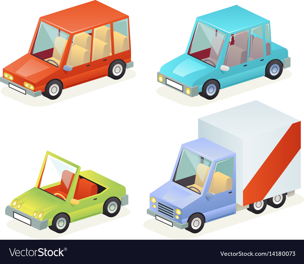 Isometric car vehicle transport icons set design