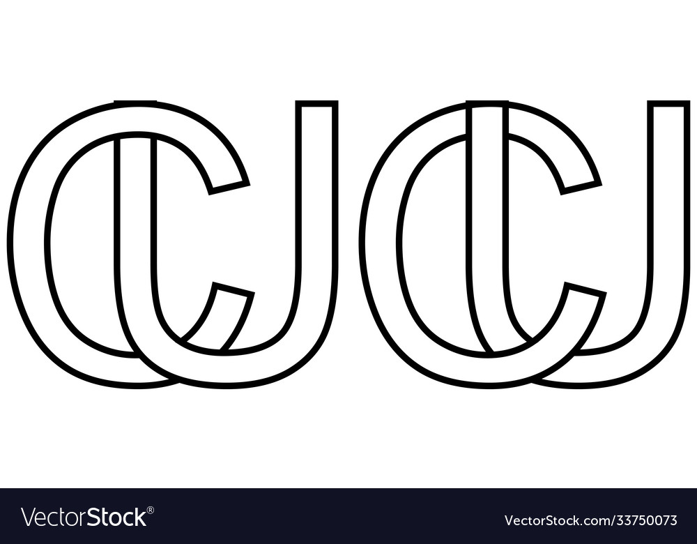 Logo sign uc cu icon sign two interlaced letters
