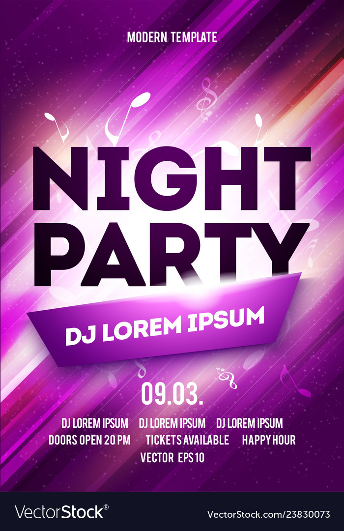 Night party poster template design