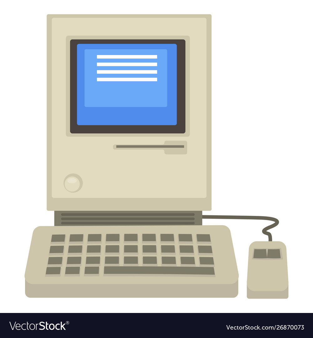 Old computer 80s technologies screen and