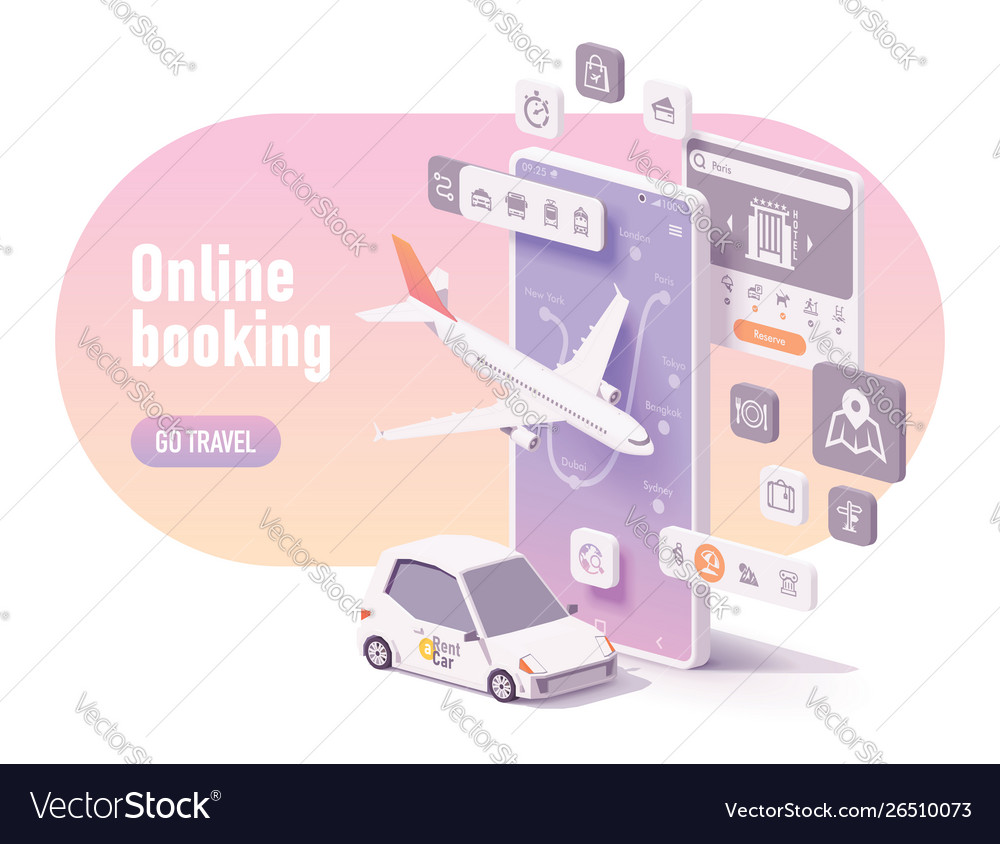 Online travel planning and booking concept