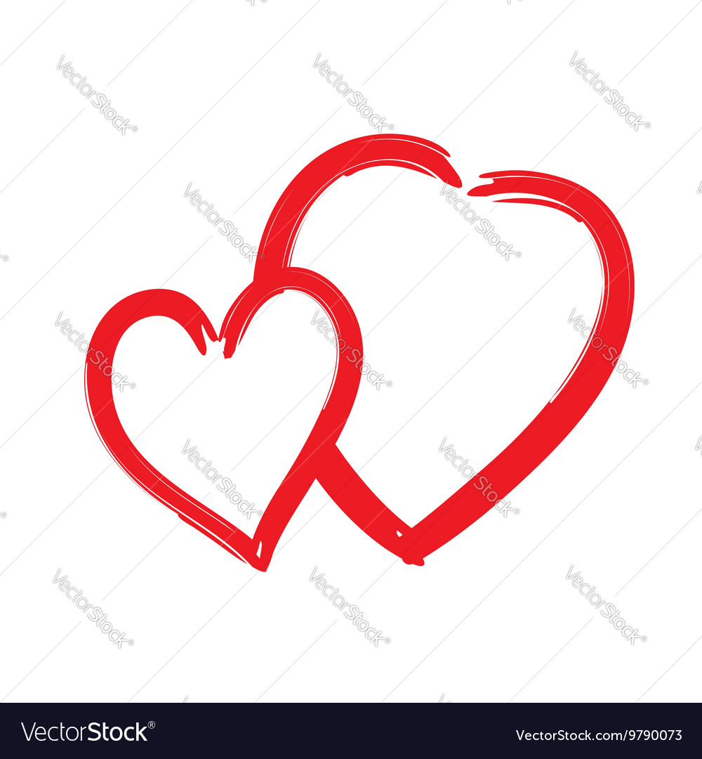 Red hearts icon Brush texture shape sign isolated vector image