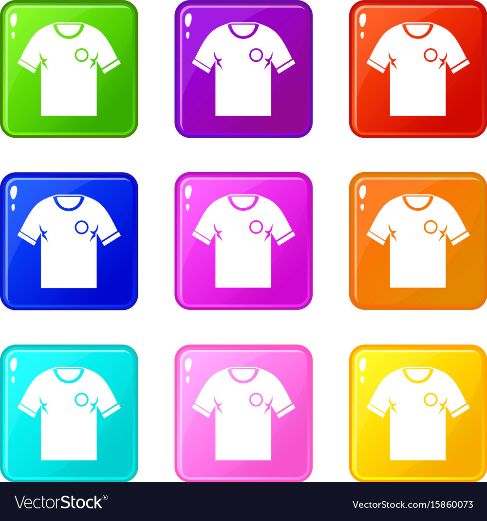 Soccer shirt icons 9 set