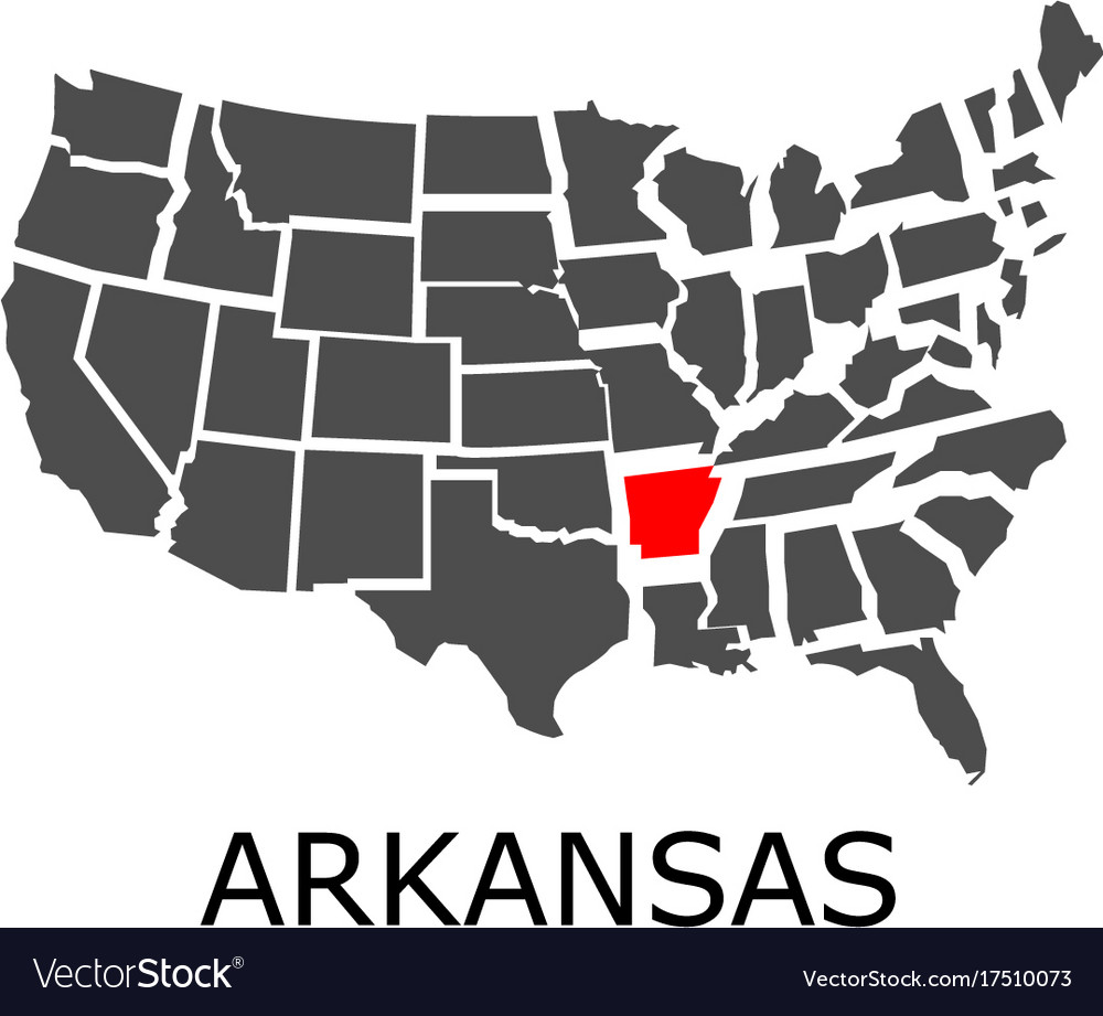 State of arkansas on map of usa Royalty Free Vector Image