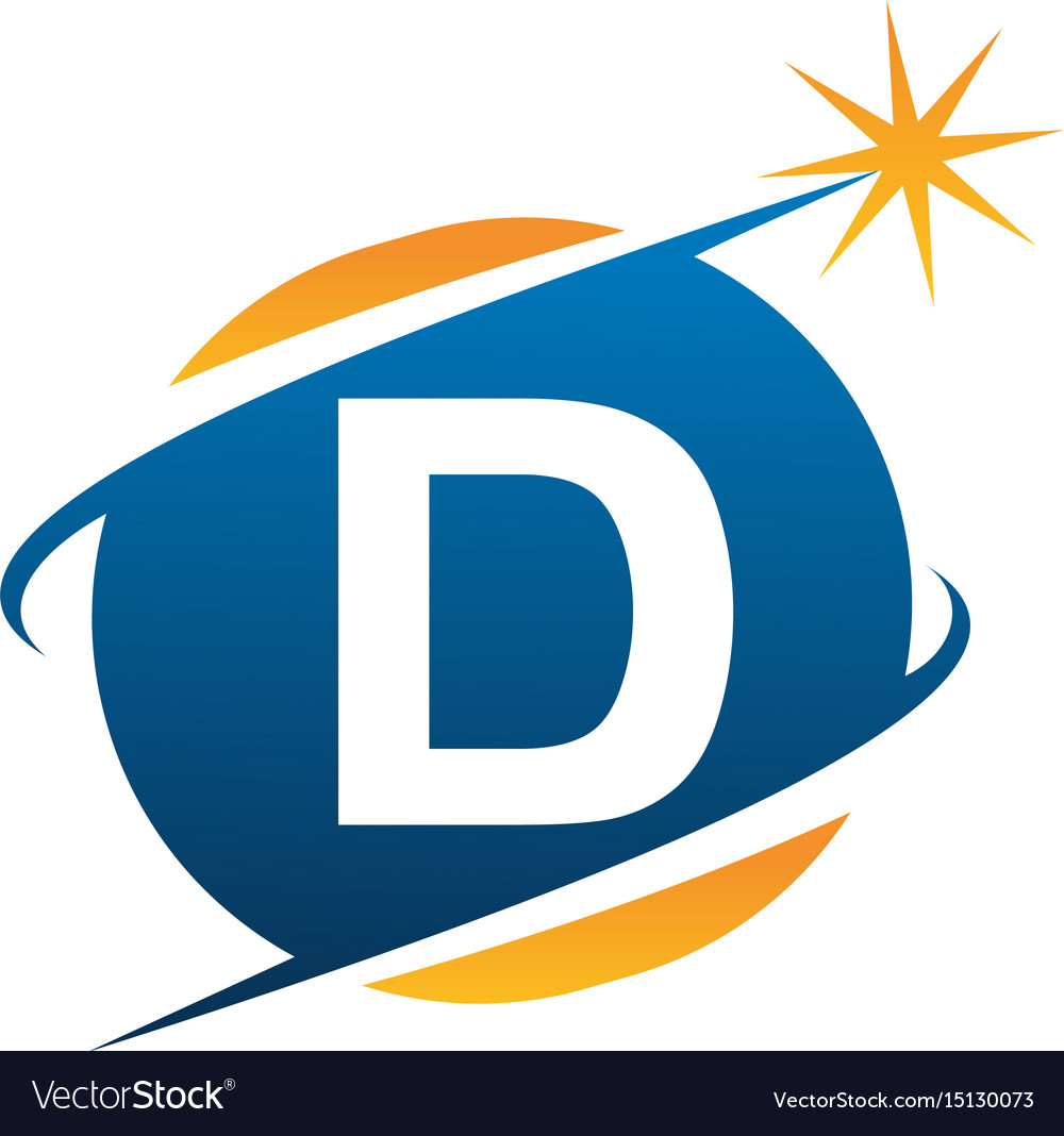 Swoosh logo letter d vector image