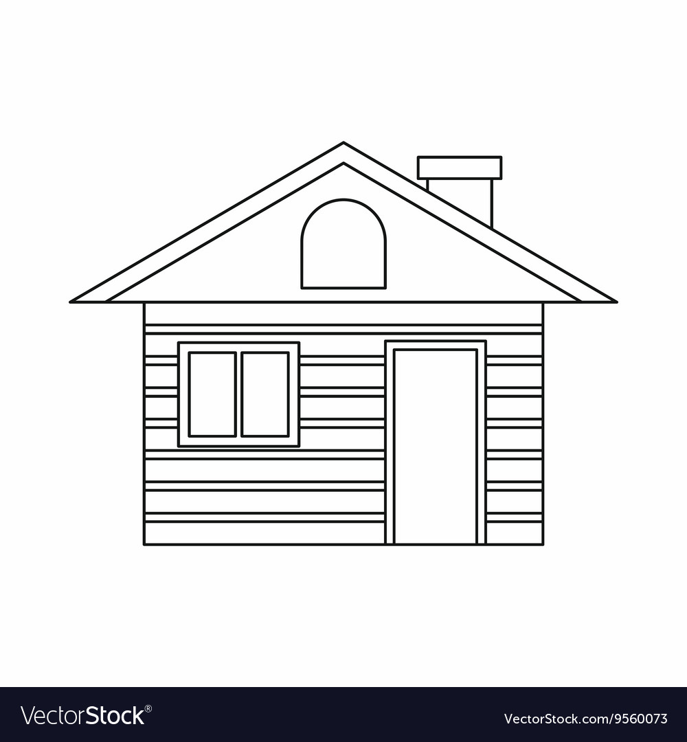 Wooden log house icon outline style Royalty Free Vector