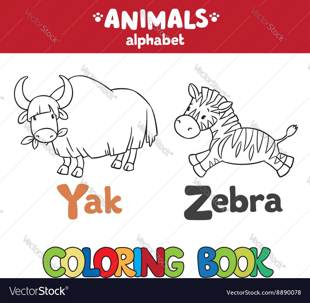 Animals alphabet or ABC Coloring book vector image on VectorStock