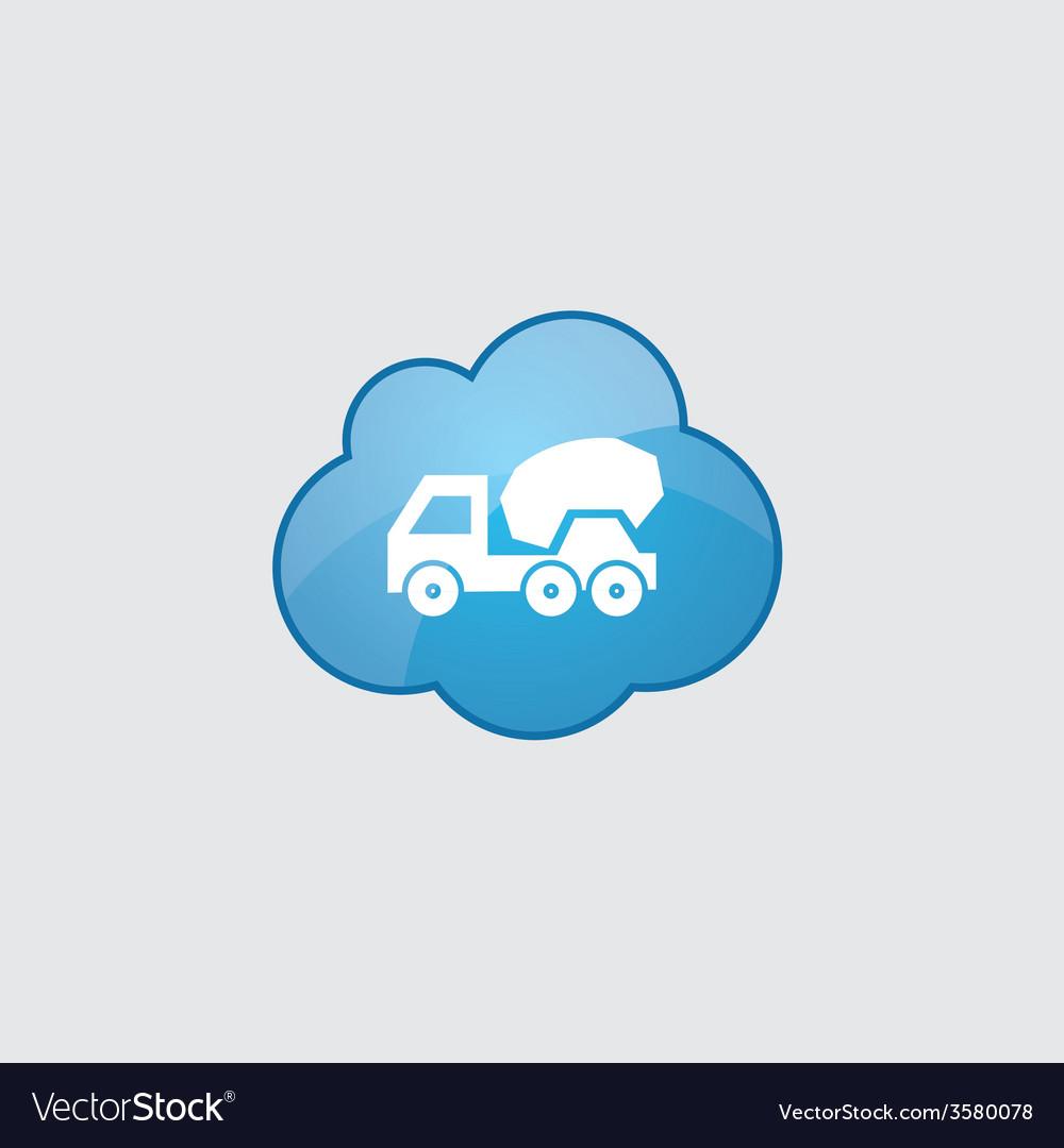 Blue cloud concrete mixer icon