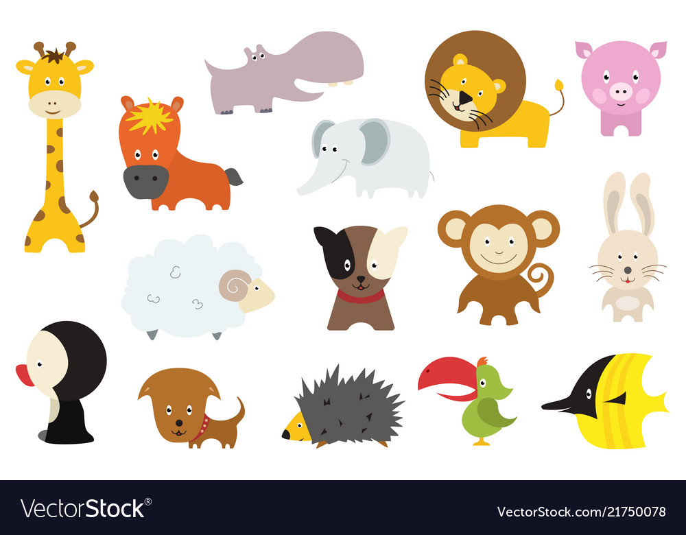 Cute wild and domestic animals cartoon stickers or