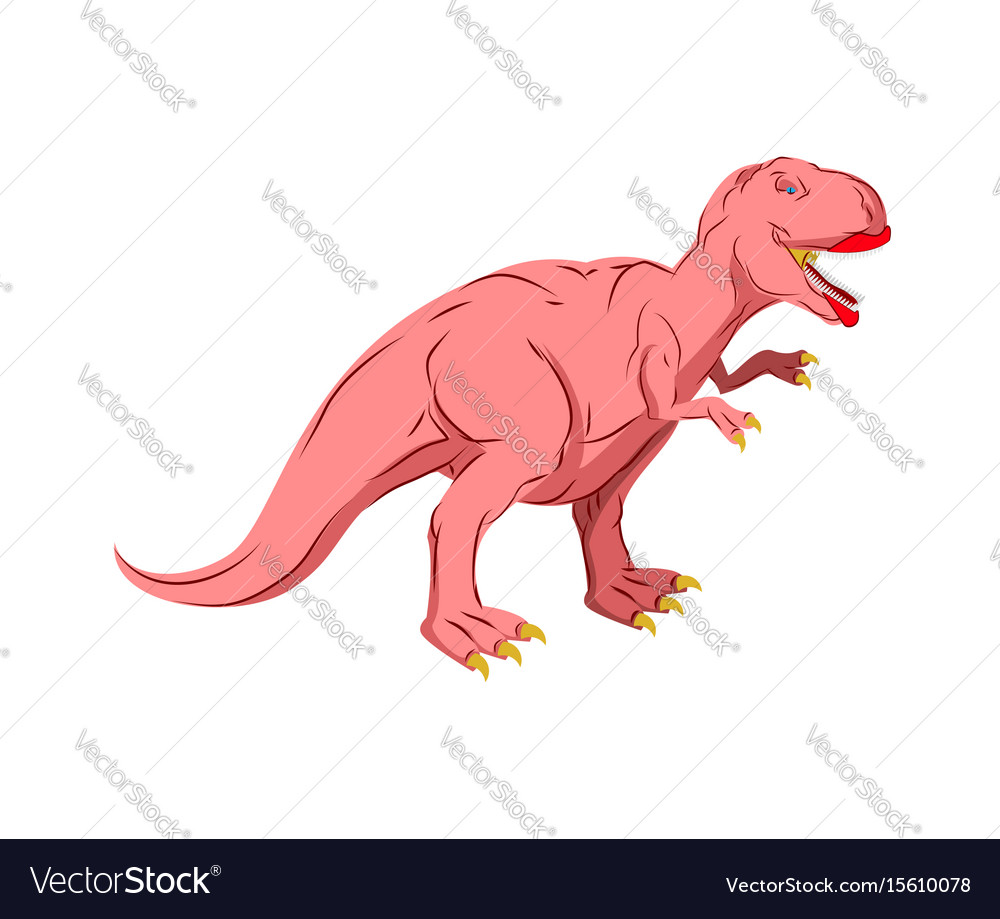 Dino female pink dinosaur isolated ancient vector image