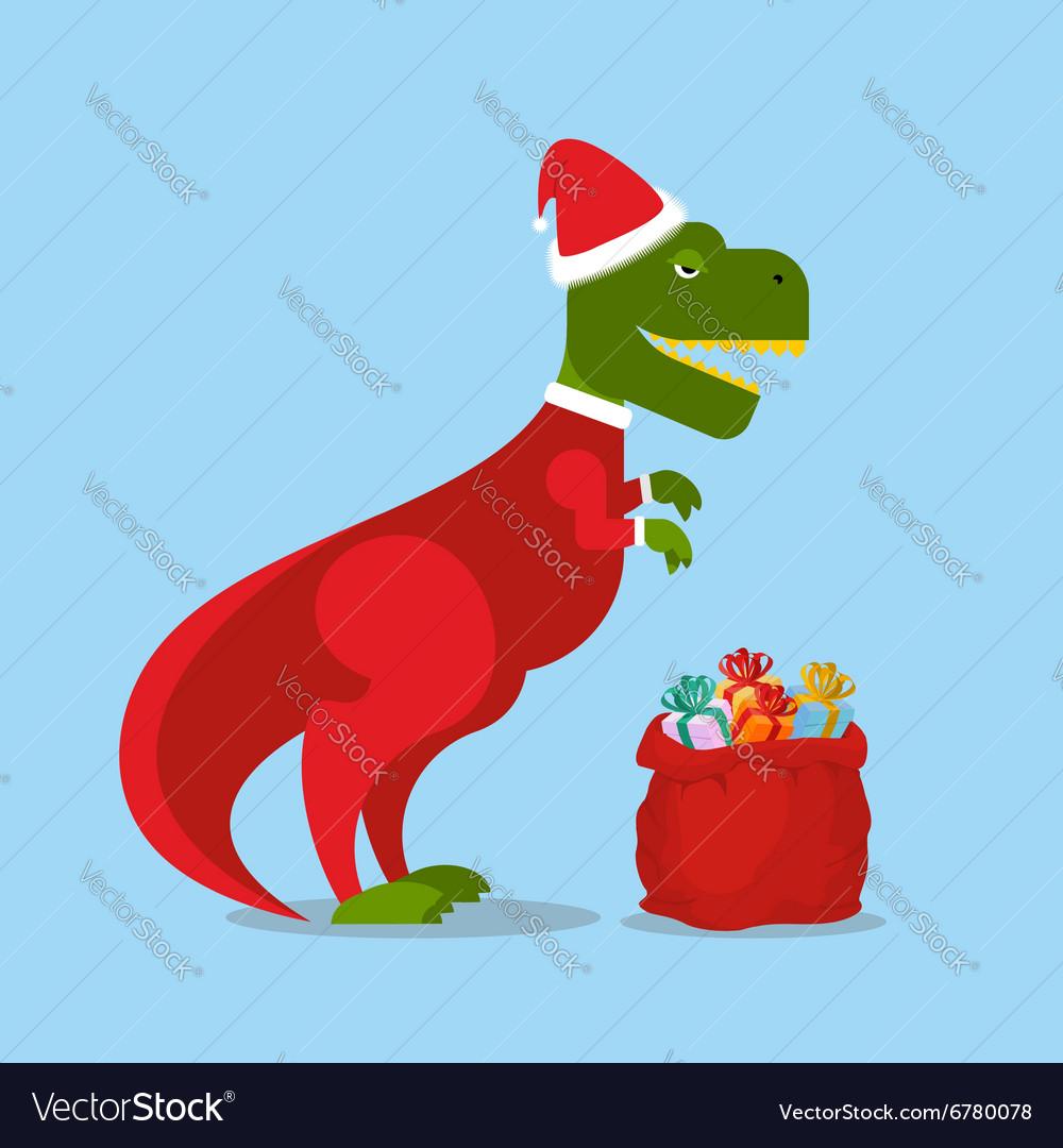 Christmas Dinosaur.Dinosaur Santa Claus T Rex In Christmas Hat