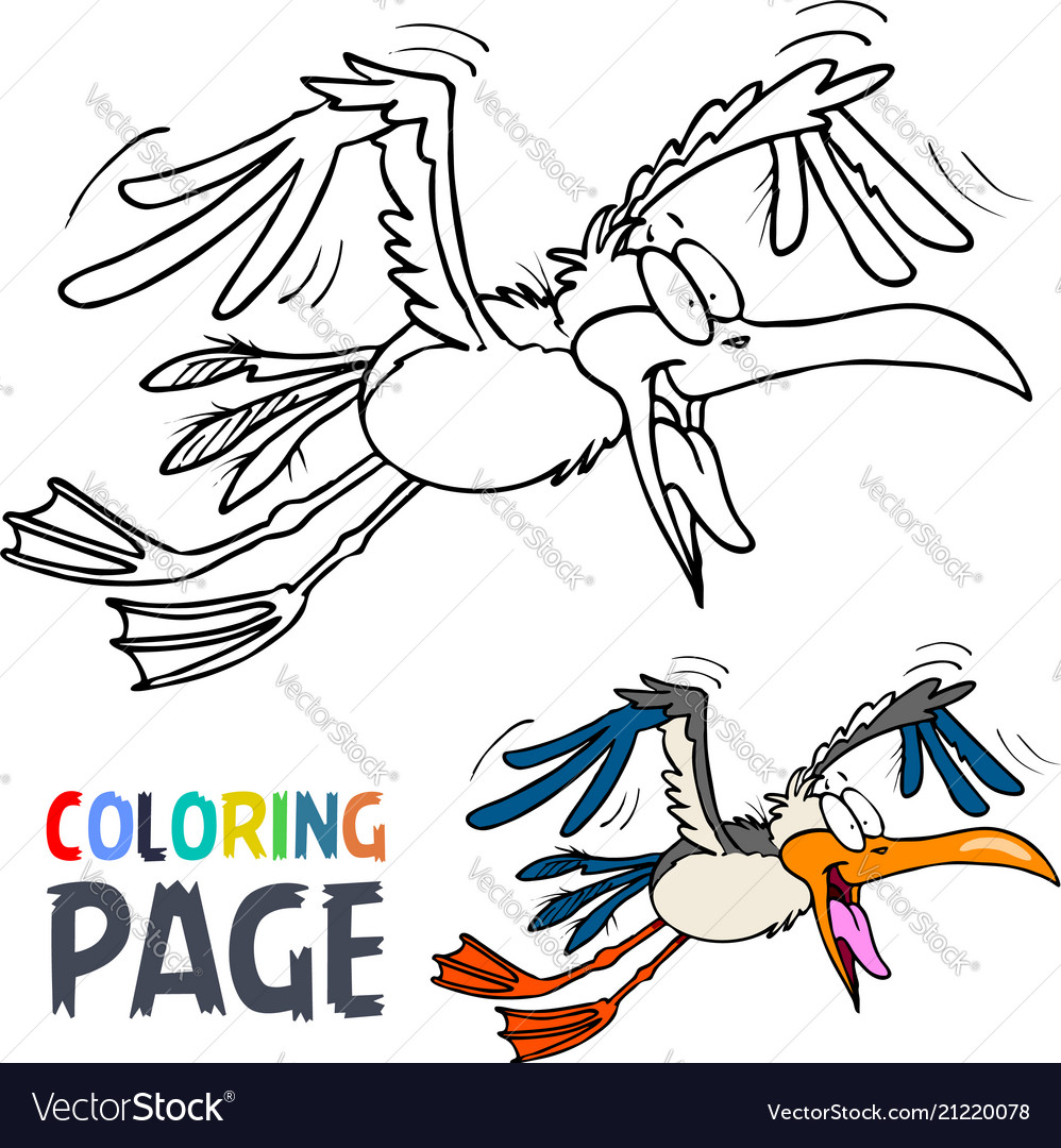 Flying bird cartoon coloring page