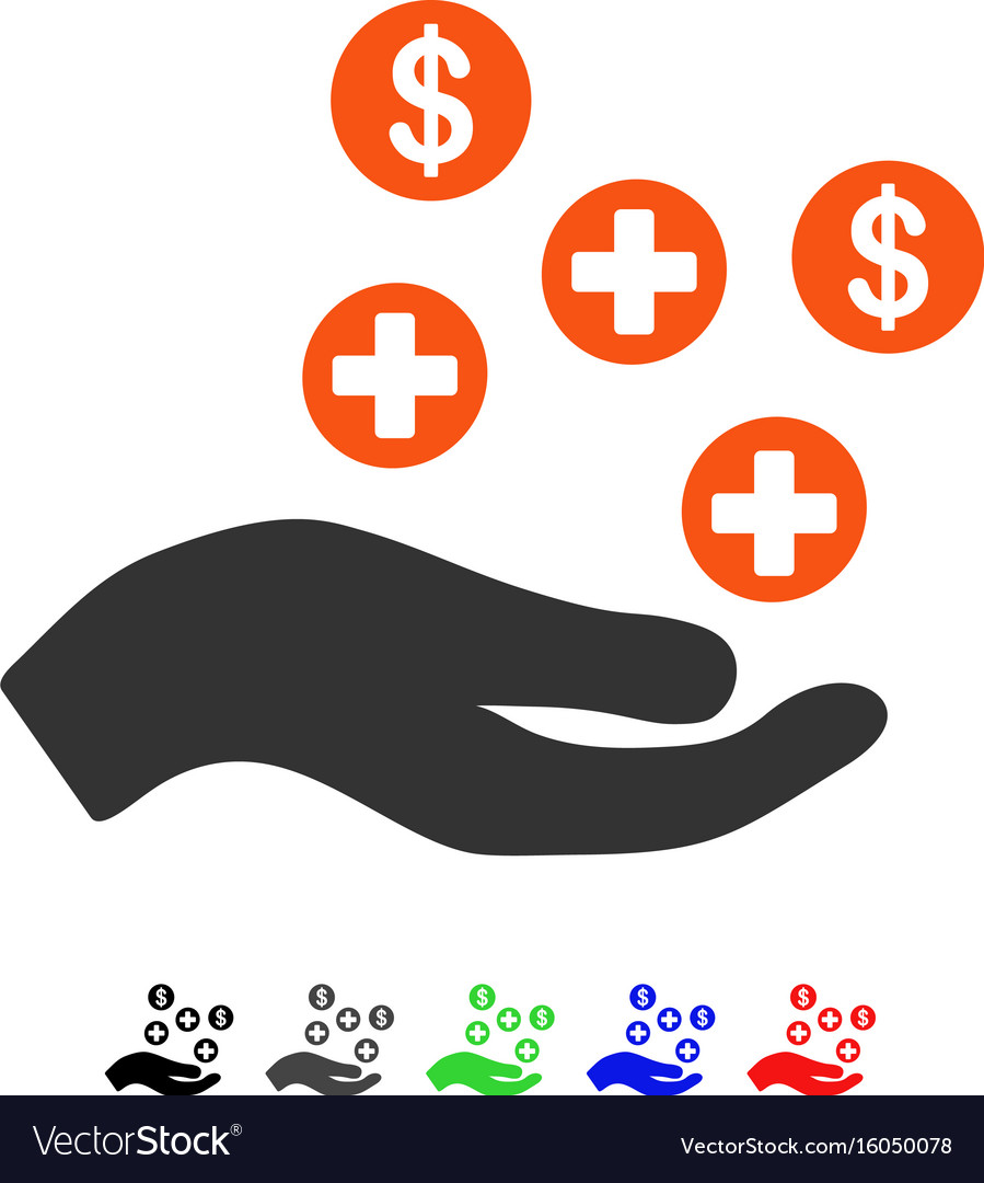 Hand offer medical service flat icon vector image
