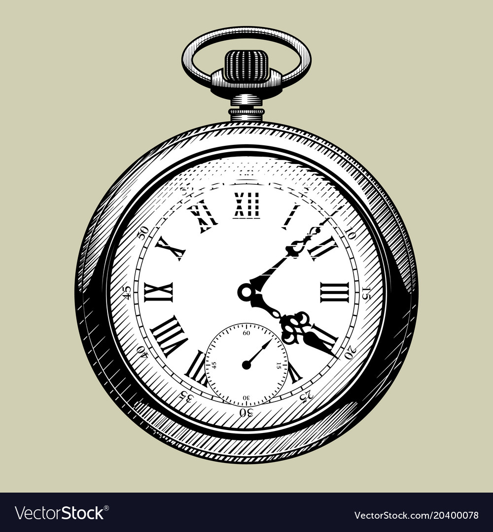 Beautiful Old clock face retro pocket watch Royalty Free Vector Image LI18