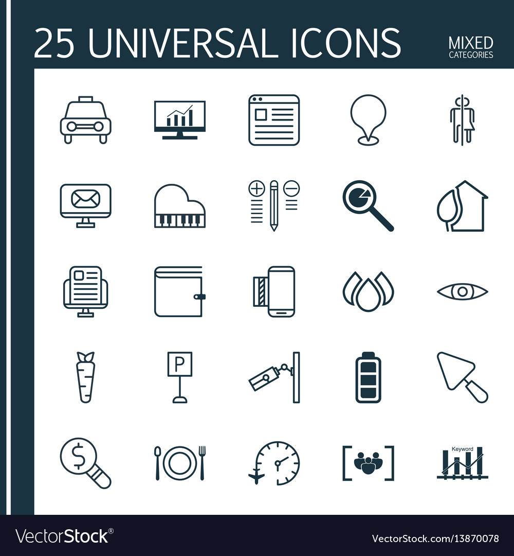 Set of 25 universal editable icons can be used