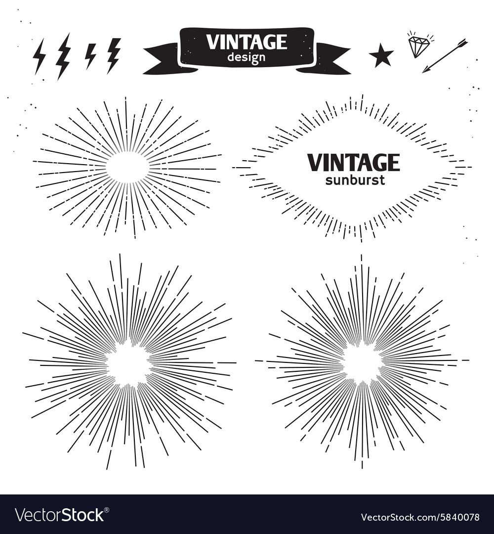 Set of Vintage Sun Burst monochrome light rays