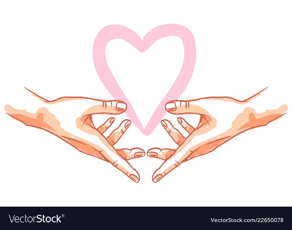 Two hands holds heart