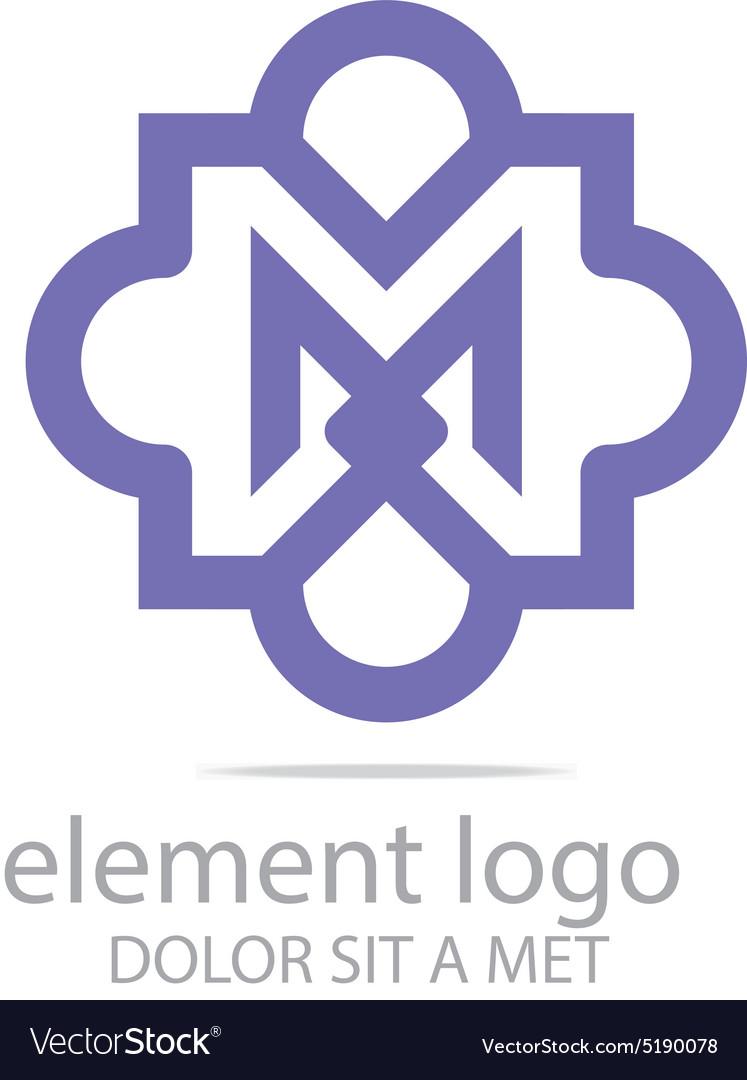 Violet element m design symbol icon vector image