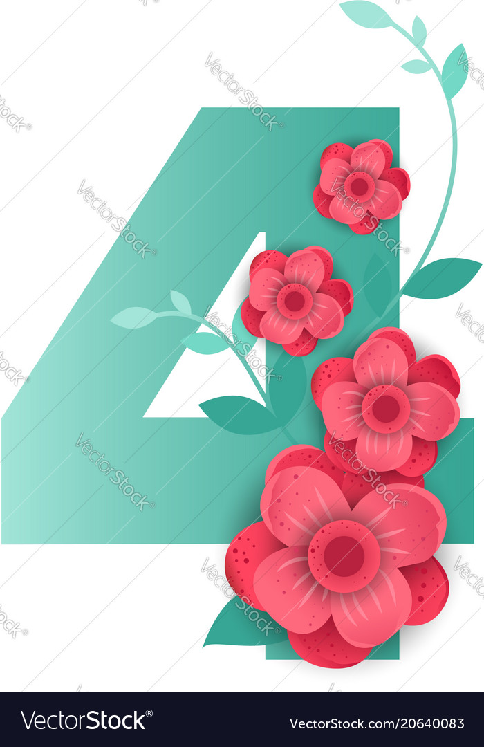 Color number 4 with beautiful flowers Royalty Free Vector