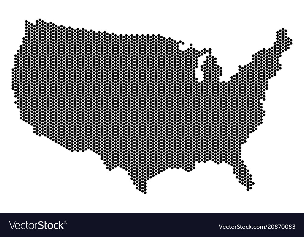 Hex-tile usa map Royalty Free Vector Image - VectorStock