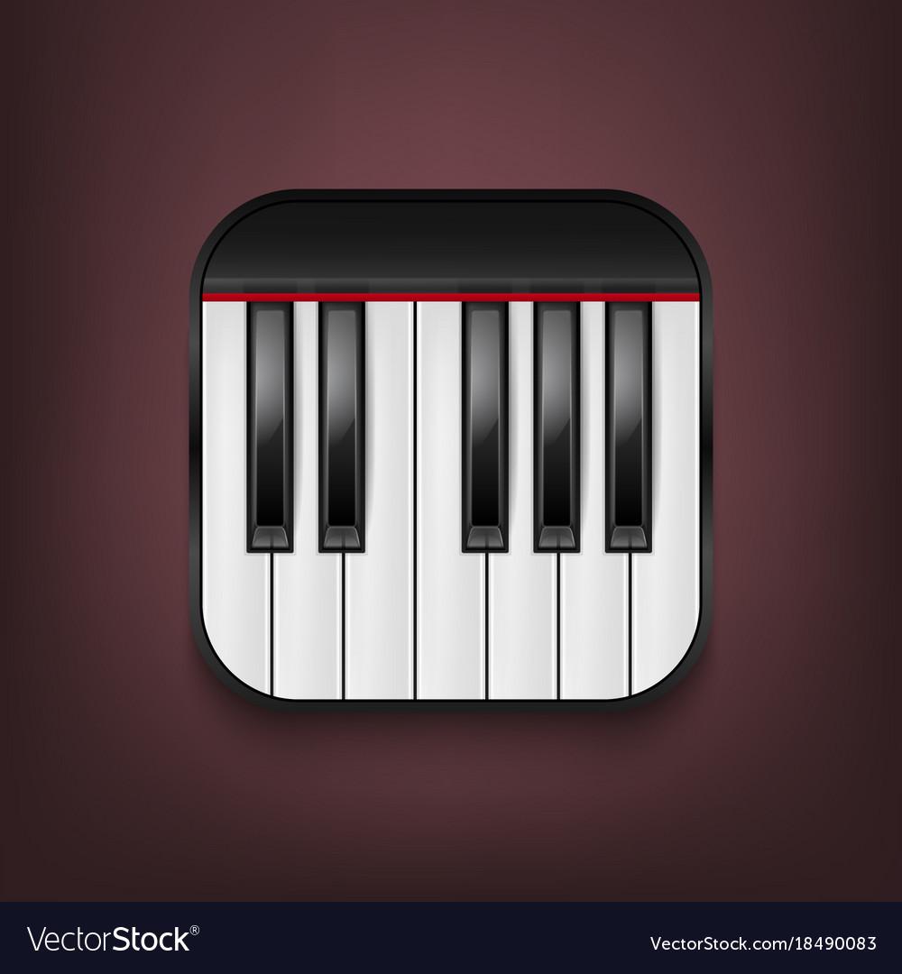 Photorealistic piano keyboard icon design vector image