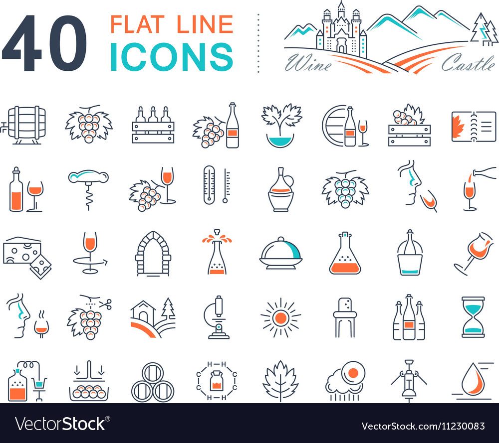 Set Flat Line Icons Wine