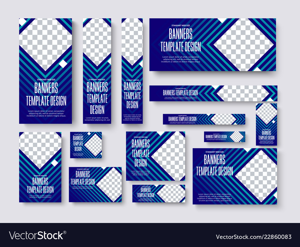Set web banners standard size with a square
