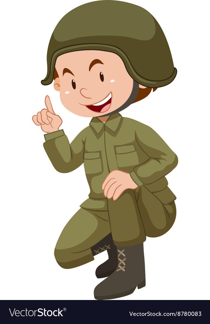 Soldier in green uniform sitting