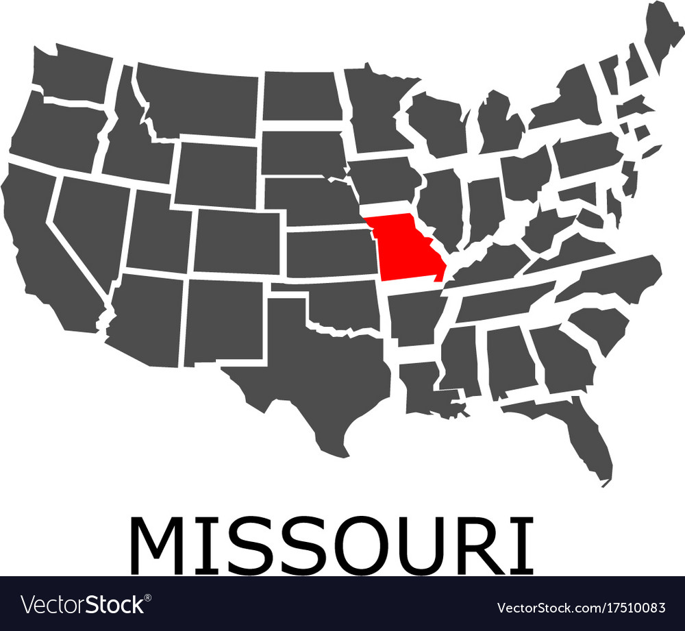 State of missouri on map of usa vector image