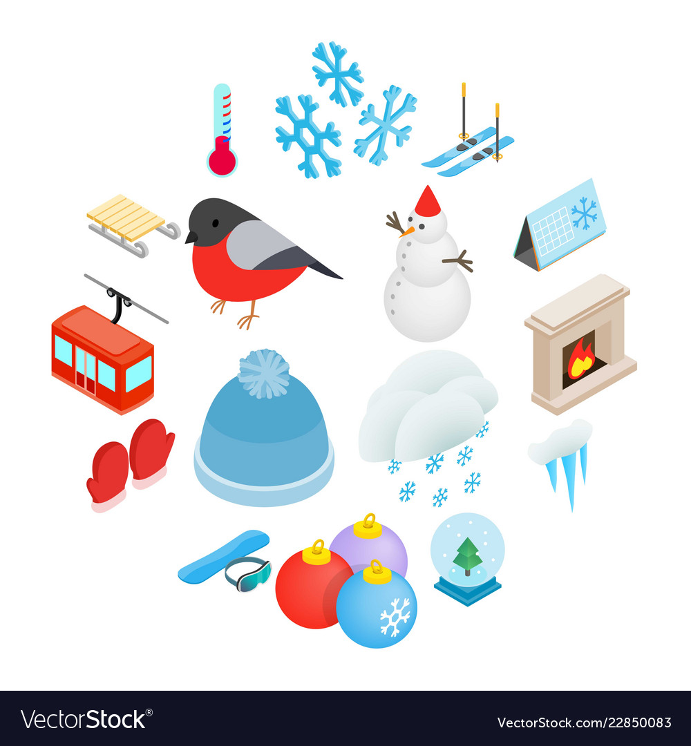 Winter elements icons set isometric 3d style